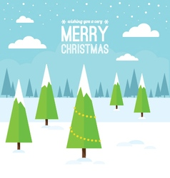 Winter scene with christmas trees vector