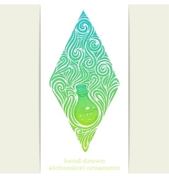 Abstract ornament alchemical bottle vector