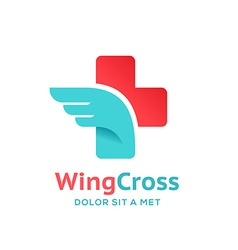 Cross plus wing medical logo icon design template vector