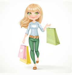 Shopaholic blond girl goes with paper bags vector