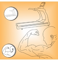 Logo athlete and treadmill vector