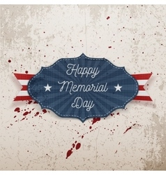 Happy memorial day greeting label with text vector