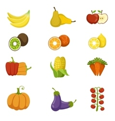 Fresh fruits and vegetables icon set vector