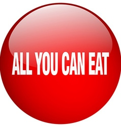All you can eat red round gel isolated push button vector
