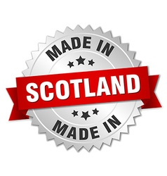 Made in scotland silver badge with red ribbon vector