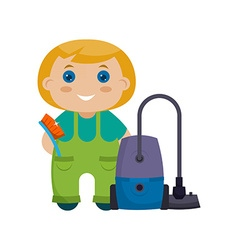 Cartoon character little girl with vacuum cleaner vector image