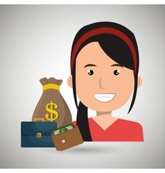 Business person with money and portfolio vector