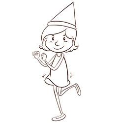 A plain drawing of a girl celebrating vector image