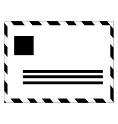 Black and white mail envelope vector