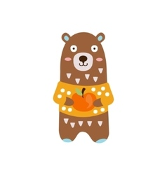 Brown Bear In Yellow Sweater Holding Apple In vector image vector image