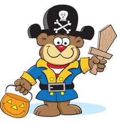 Cartoon teddy bear pirate vector
