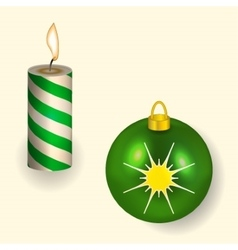 Christmas candle and ball reflecting new year vector