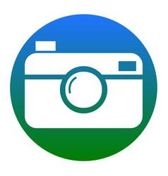 Digital photo camera sign white icon in vector