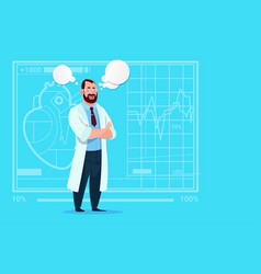doctor with chat bubble medical clinics worker vector image