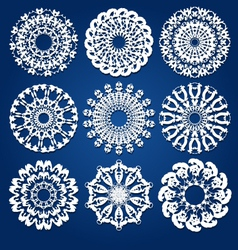 Doily or snowflake design set vector