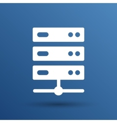 Flat computer server system icon vector