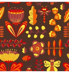 floral seamless pattern with bugs and dragonfly vector image