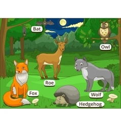 Forest with cartoon animals names vector