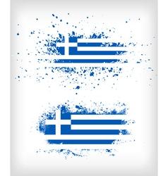 Grunge greek ink splattered flag vector