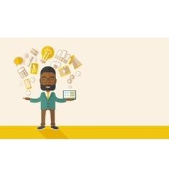 Happy black man enjoying doing multitasking vector