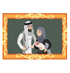 Happy muslim family in golden frame vector