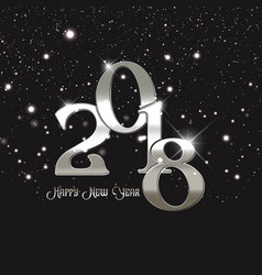 Happy new year background with metallic silver vector