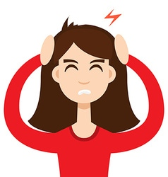 Headache girl high blood pressure concept vector