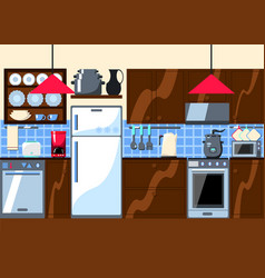 Kitchen room with furniture and home appliances vector