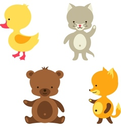 Little cute baby cat bear fox and duck vector image vector image
