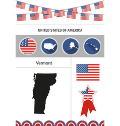 Map of vermont set of flat design icons vector
