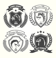 medieval heraldry coat of arm set vector image vector image
