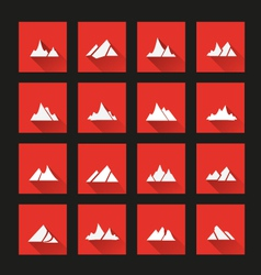 Mountain icons long shadow vector