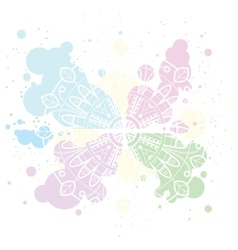 Pastel background with white mandala on colorful vector