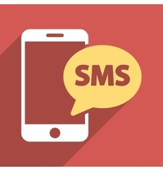 Phone SMS Flat Longshadow Square Icon vector image