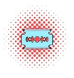 Razor blade icon comics style vector image