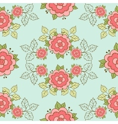 Seamless pattern doodle roses vector