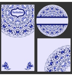 Set invitations cards with a beautiful pattern in vector image