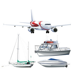 Ships and airplane on white background vector