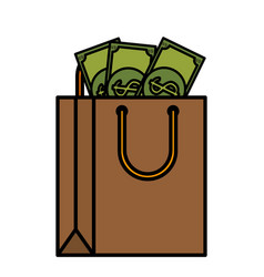shopping bag paper with money vector image