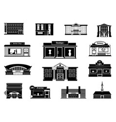 shops markets and others municipal buildings vector image vector image