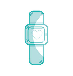 Silhouette cute smartwatch technology with fitness vector