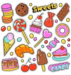 Sweet Food Badges Set with Patches Stickers vector image vector image