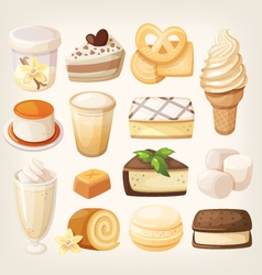 Vanilla desserts vector