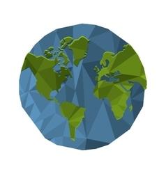 polygon texture earth globe icon vector image