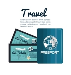 Travel passport and tickets airplane vacation vector