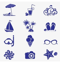 Summer icons blue vector