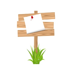 Wooden signpost with announcement grass vector
