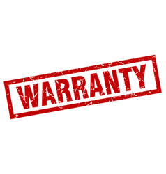Square grunge red warranty stamp vector