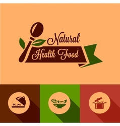 Flat natural food design elements vector