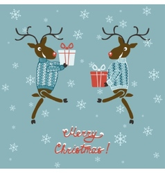Christmas deer in sweater with gifts vector